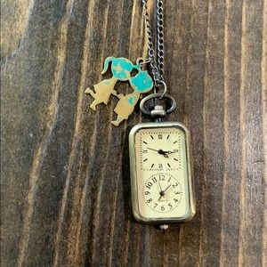Jewelry - Clock pendant necklace- vintage style